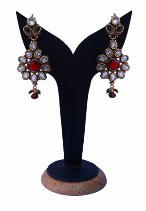 Beautiful Designer Polki Earrings for Women in Red, Green and White Beads-0