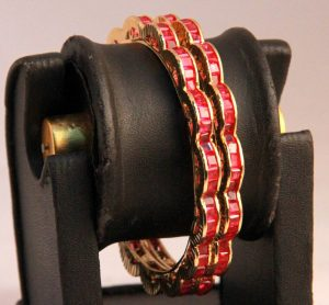 Designer Red AD Stone Fashion Bangles in Curvy Pattern from India-0