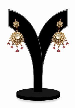 Buy Online Designer Round Kundan Earrings in White Beads from India-0