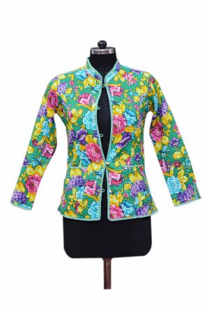 Buy Online Colorful Floral Patterns Green Quilted Jackets For Women-0