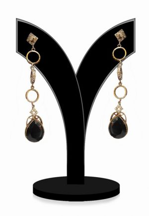 Elegant Black Beads Jewellery Earrings for Women from India-0
