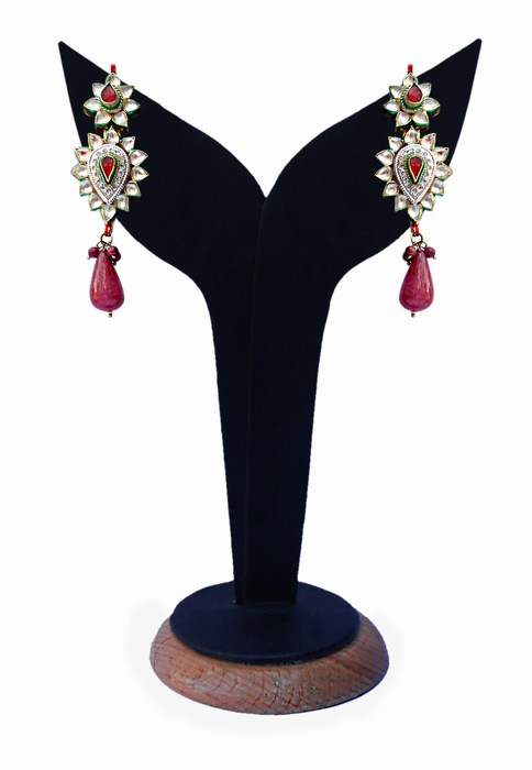 Elegant Kundan Earrings With Red, Green and White Stones-0