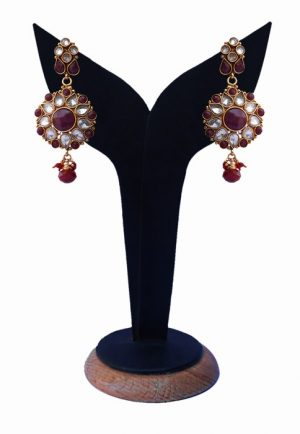 Shop Online Elegant Polki Earrings With Red and White Stones-0