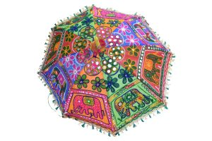 Buy Online Colorful Elephant Embroidery Handicraft Indian Umbrella-0