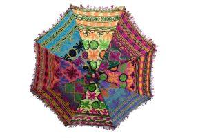 Multicolor Ethnic Designer Umbrella with Embroidery work Cotton Parasol-0