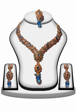 Exclusive Designer Fashion Necklace set from India in Turquoise Stone-0