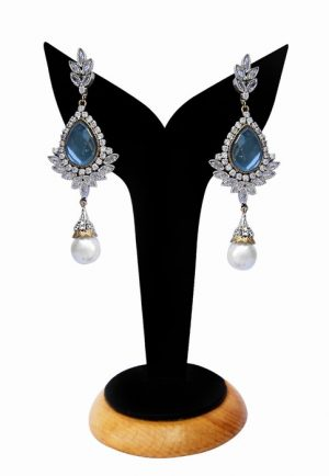 Exclusive Earrings for Women in Turquoise and White Stones-0