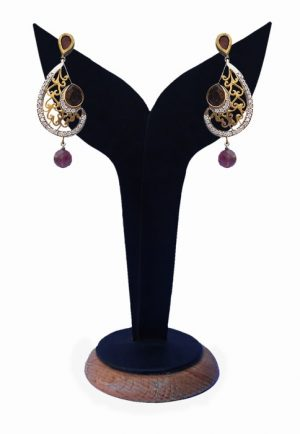 Buy Online Exclusive Fashion Earrings in Purple and White Beads-0