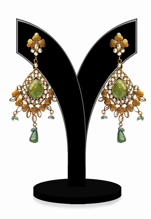 Exquisite Girls Earrings in Green and White Stones for Parties-0