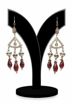 Shop Online Exquisite Victorian Earrings With Red Stones-0