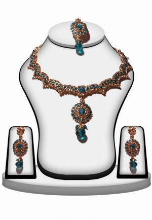 Fancy Turquoise Stone Fashion Necklace Set with Earrings for Women-0