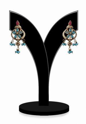 Traditional Fancy Look Victorian Earrings for Women in Blue Stones-0