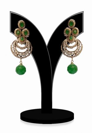 Beautiful Fashion Earrings for Girls in Green and White Beads-0
