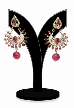 Beautiful Fashion Earrings for Girls in Red and White Stones-0