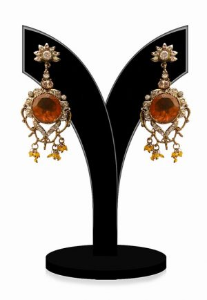 Fashion Earrings for Women in Amber and White Stones-0