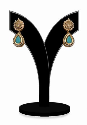 Fashion Earrings for Women in Turquoise and White Stones-0