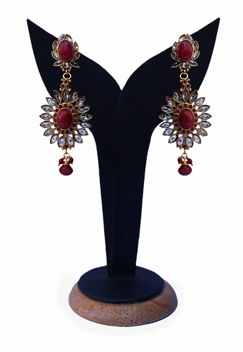 Red and White Stones Studded Polki Earrings from India-0
