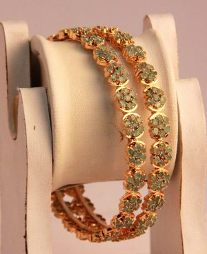 Buy Gorgeous Gold Plated Bangles for Women with Ruby Stones-0
