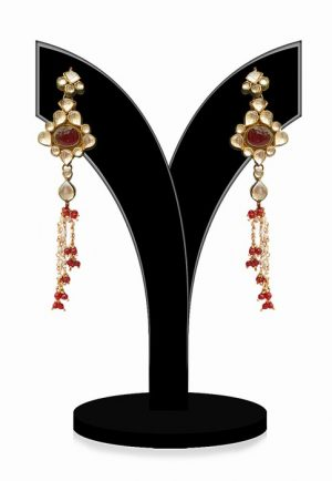 Gorgeous Kundan Earrings for Women in Red and White Stones-0