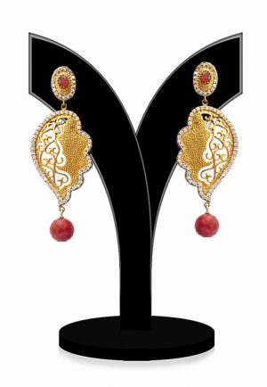 Gorgeous Red Beads Party Earrings with Antique Polish-0