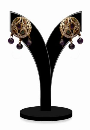 Gorgeous Multicolored Stones Round Earrings for Women-0