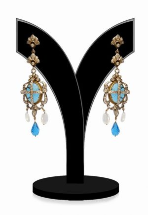 Indian Antique Victorian Girls Earrings in Turquoise and White Beads-0