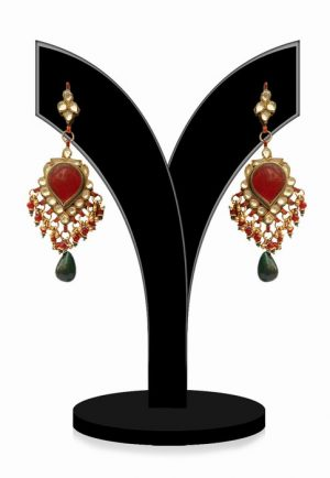 Designer Indian Kundan Earrings for Parties in Green and Red Beads-0