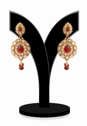 Traditional Red and White Indian Polki Jhumka Earrings for Ladies-0