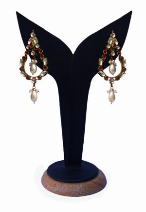 Buy Online Exclusive Kundan Earrings White and Red Beads-0