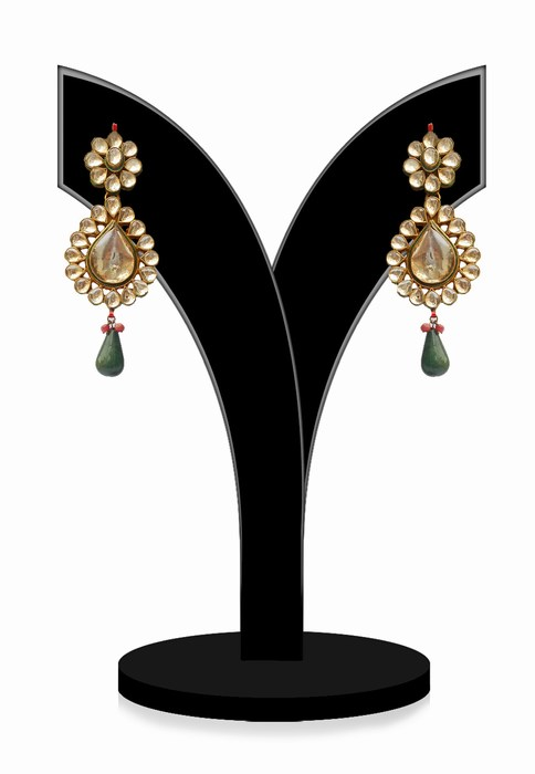 Fashion Earrings for Ladies in Green and White Kundan Stones-0