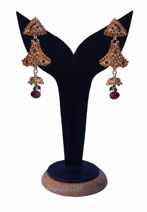 Gorgeous Red and Green Beads Studded Fashion Earrings from India-0