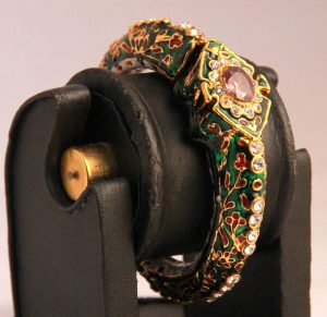 Antique Design Indian Women Bangles in Green Meenakari Work-0