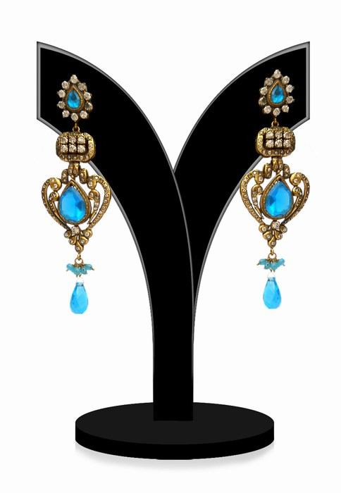 Fashion Earrings for Girls in Turquoise and White Stones-0