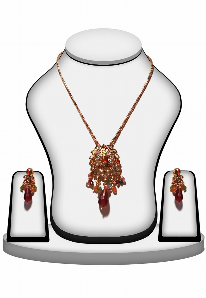 Multi Color Beaded Bridal Polki Pendant Set with Earrings for Women -0