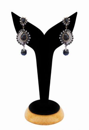 Gorgeous Black and White Beads Party Earrings from India-0