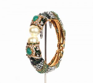 Buy Party Wear Fashion Bangle Green with Stones and Pearls-0