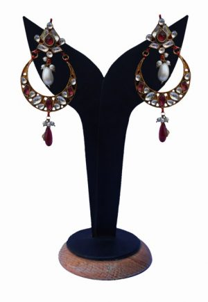 Party Wear Stylish Kundan Earrings in Red and White Stones for Girls-0