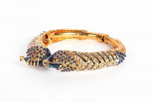 Buy Latest Design Peacock Bangle with Blue and White Stones-0