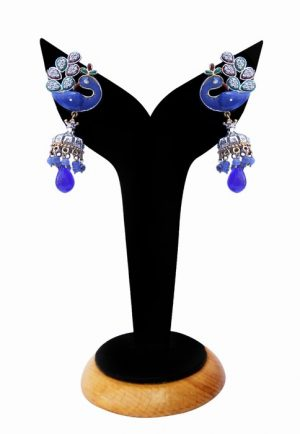 Peacock Earrings for Women in Beautiful Blue Beads from India-0