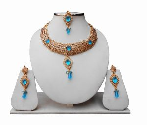 Turquoise Polki Bridal Jewellery Set with Indian Tikka and Earrings for Women-0