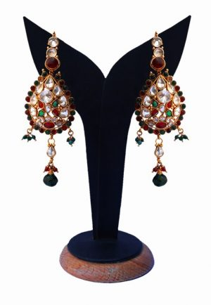 Polki Earrings for Women in Red, Green and White Stones-0