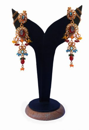 Polki Earrings for Women in Mulit-Colored Stones for Parties-0