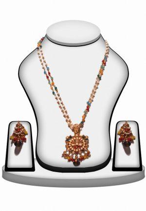 Elegant Multi Color Stone Polki Pendant and Earrings Set-0