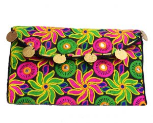 Multicolored Rajkot Embroidery Designer Ethnic Clutch Purse for Women-0