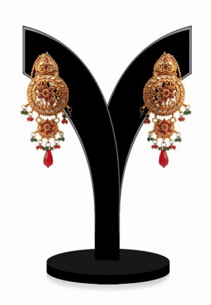 Beautiful Round Shaped Ladies Jhumkas in Red and Green Beads-0