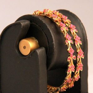 Ruby Bangles for Women in Floral Pattern with Micro Gold Covering-0