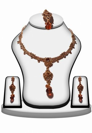 Shop Online Brown Stone Fashion Necklace Set with Earrings and Maang Tikka-0