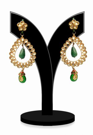Sparkling Kundan Earrings in Green and White Beads for Parties-0