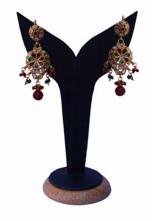 Buy Online Red, Green and White Stones Studded Polki Earrings-0