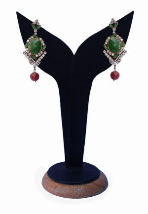 Stylish Fashion Earrings for Women in Red, Green and White Stones-0